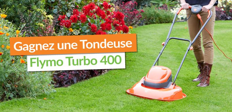 jeu concours été epièces Gagner une tondeuse Flymo Turbo 400 sur coussin d'air